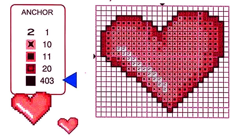 Сердце для вышивки крестиком 556